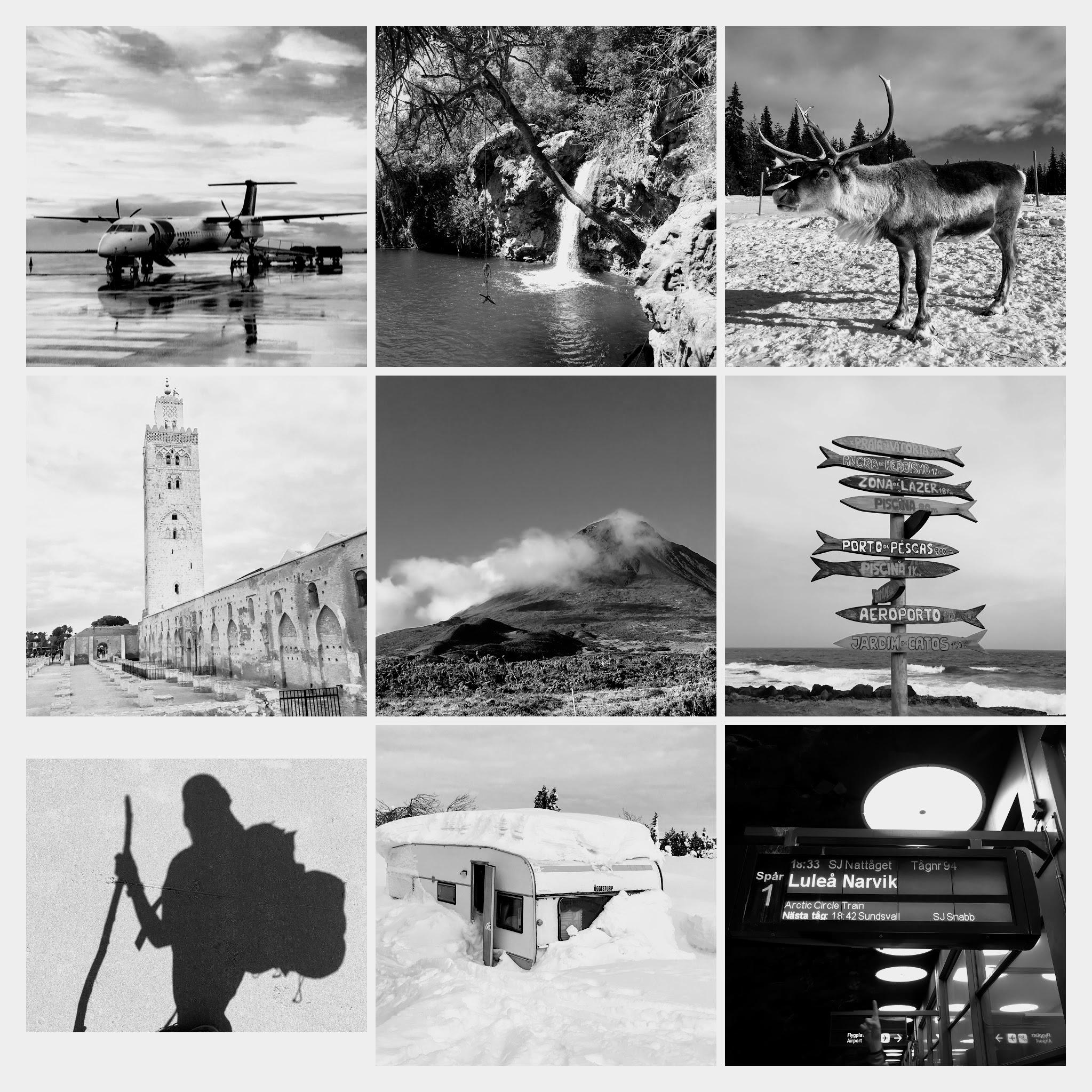 schwarz weiß Collage Reisefotos